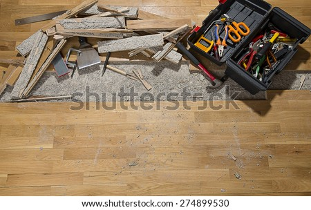 Damaged wooden floor with space for your text. - stock photo