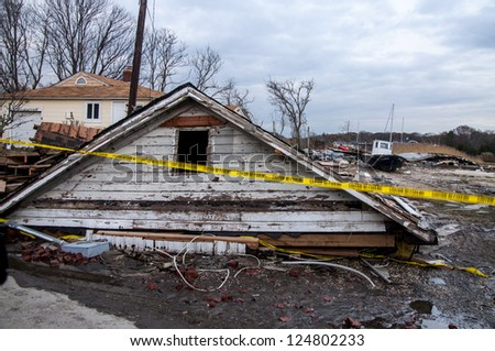 Damages caused by hurricane Sandy on Long Island