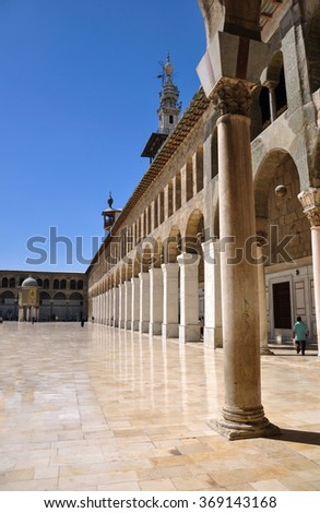 Damascus, Syria - May 09, 2010: the Umayyad Mosque, known as the Great Mosque of Damascus, located in the old city, is one of the largest and oldest mosques in the world.