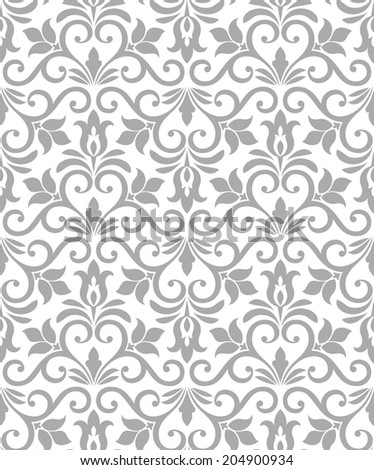 Damask elegant light wallpaper.Seamless background. White, gray texture. - stock photo