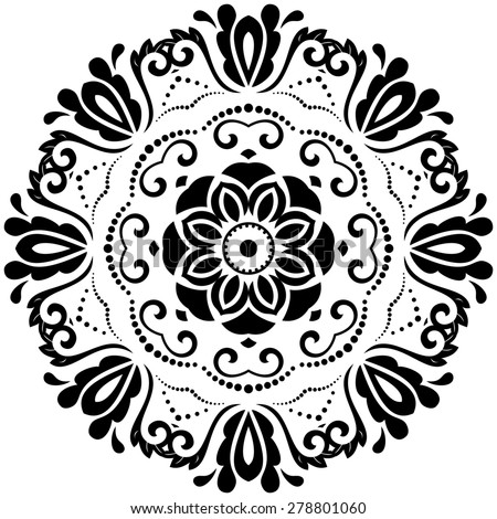 Damask  floral pattern with arabesque and oriental elements. Abstract traditional ornament for backgrounds. Black and white colors - stock photo