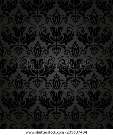 Damask  floral pattern with arabesque and oriental elements. Seamless abstract wallpaper and background