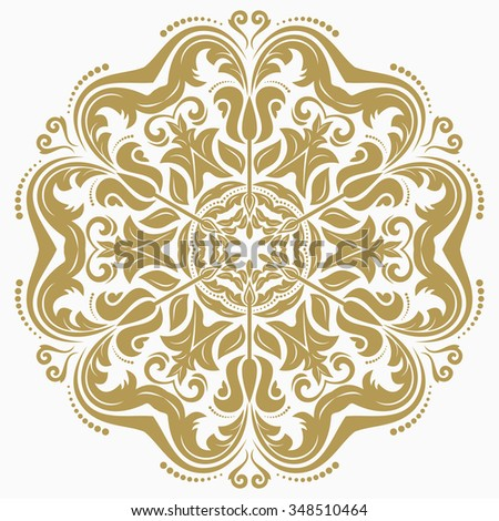 Damask floral pattern with oriental elements. Abstract traditional golden ornament