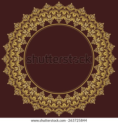Damask  floral round pattern with golden arabesque and oriental elements. Abstract traditional ornament for wallpapers and backgrounds - stock photo