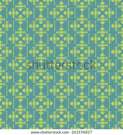 Damask Pattern. Seamless Pattern. Background for Your Design. Green Color.