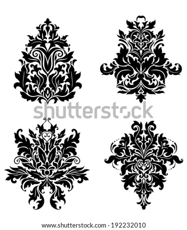 Damask patterns in vintage floral style for design. Vector version also available in gallery - stock photo