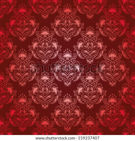 Damask seamless floral pattern. Royal wallpaper. Floral ornaments on a red background.