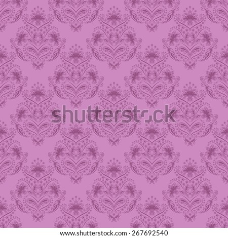 Damask seamless floral pattern. Royal wallpaper. Floral ornaments on lilac background.  Illustration - stock photo