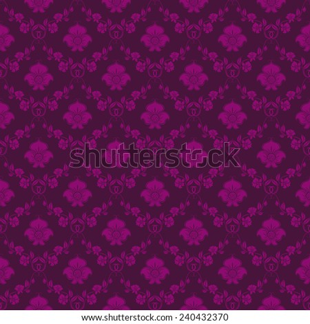 Damask seamless floral pattern. Royal wallpaper. Floral ornaments on purple background. Illustration. - stock photo