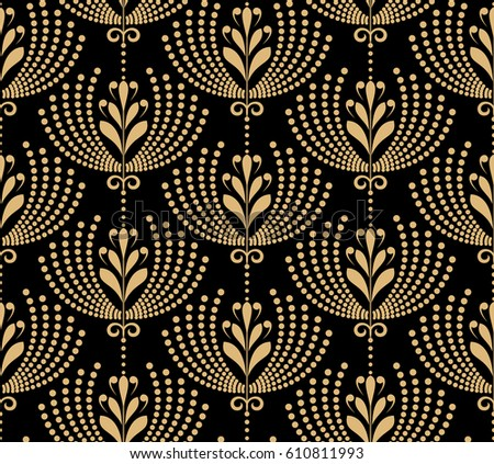 Damask Seamless Floral Pattern Royal Wallpaper Flowers On A Black And Gold Background