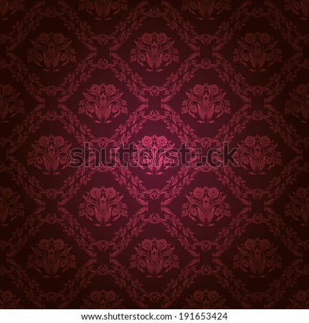 Damask seamless floral pattern. Royal wallpaper. Flowers on a dark background. Illustration.