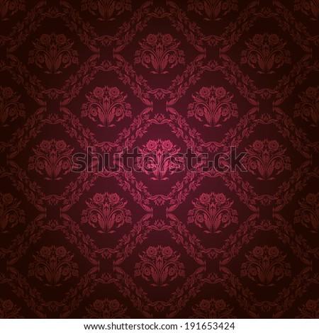 Damask seamless floral pattern. Royal wallpaper. Flowers on a dark background. Illustration. - stock photo