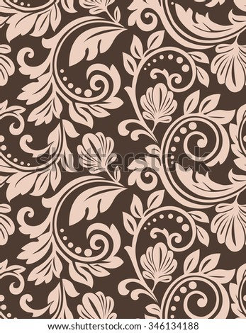 Damask seamless floral pattern. Royal wallpaper. Flowers on a dark background, ornament. - stock photo