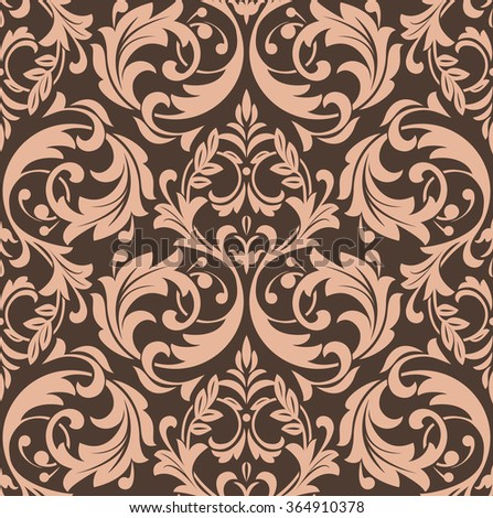 Damask seamless floral pattern. Royal wallpaper. Flowers on a dark background, ornament - stock photo