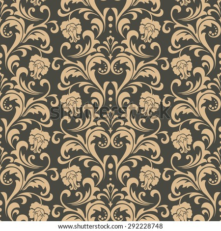 Damask seamless pattern background. Elegant luxury texture for wallpapers, backgrounds. Floral ornament with roses.