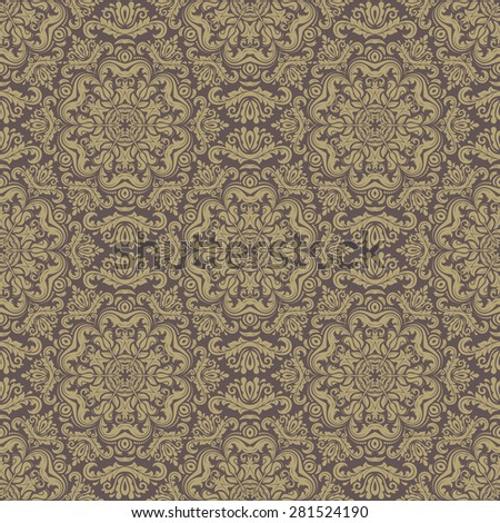 Damask seamless pattern. Fine  traditional ornament with oriental elements. Brown and golden colors