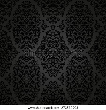 Damask seamless pattern.  traditional dark ornament with oriental elements for backgrounds
