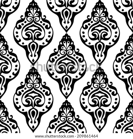 Damask Seamless Style Pattern black and white  - stock photo