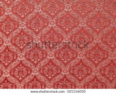 Damask seamless Thailand pattern on fabric - stock photo