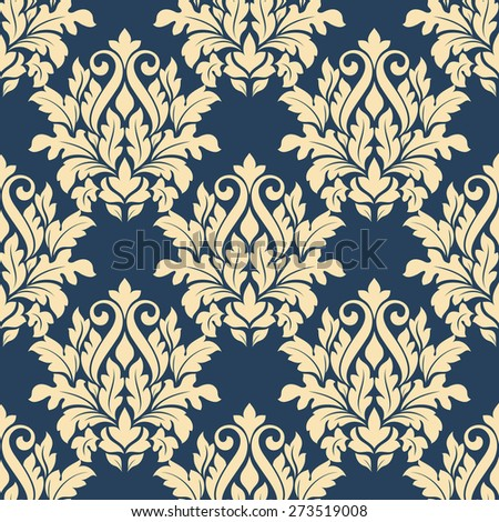 Damask style seamless pattern on blue with a large bold beige repeat floral motif in a busy design suitable for wallpaper and fabric - stock photo