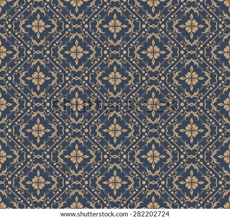 Damask wallpaper seamless pattern background in retro style for your design  - stock photo
