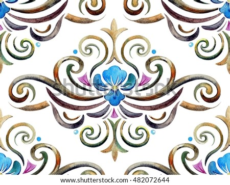 Damask watercolor seamless pattern. Classic raster illustration