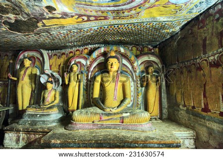 DAMBULA CAVES, greatest buddhistic landmarks - Dambula golden temple , Sri lanka - stock photo