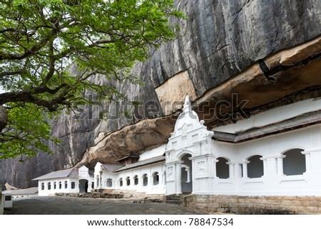 Dambulla cave temple, the largest and best-preserved cave temple complex in Sri Lanka - stock photo