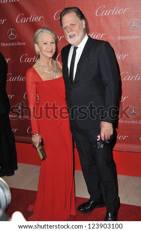 Dame Helen Mirren & husband Taylor Hackford at the Awards Gala for the 2013 Palm Springs International Film Festival. January 5, 2013  Palm Springs, CA Picture: Paul Smith - stock photo