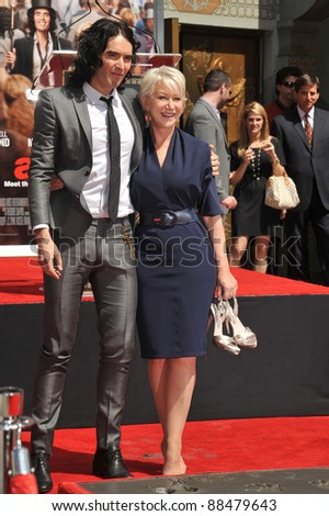 Dame Helen Mirren & Russell Brand at Grauman's Chinese Theatre where she was honored by having her hand & footprints set in cement. March 28, 2011  Los Angeles, CA Picture: Paul Smith / Featureflash