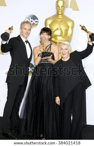 Damian Martin, Elka Wardega and Lesley Vanderwalt at the 88th Annual Academy Awards - Press Room held at the Loews Hollywood Hotel in Hollywood, USA on February 28, 2016. - stock photo