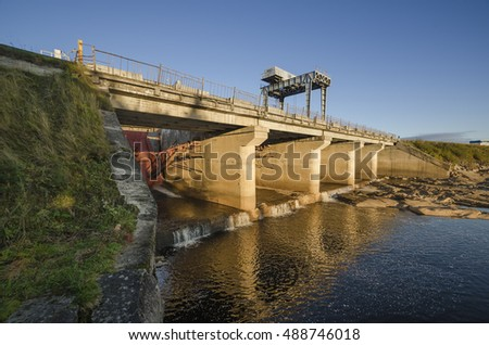 Dams, locks and protective structure Vygostrovskoy hydroelectric power. Russia, Karelia