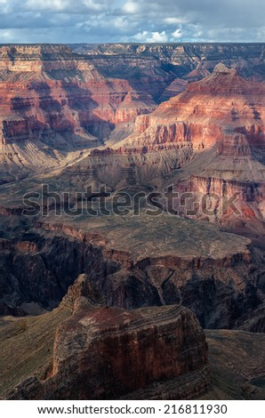Dana Butte and Isis Temple from Maricopa Point in Grand Canyon National Park, Arizona - stock photo