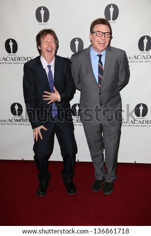 """Dana Carvey and Mike Myers  at the Academy Of Motion Picture Arts And Sciences Hosts A """"Wayne's World"""" Reunion,  AMPAS Samuel Goldwyn Theater, Beverly Hills, CA 04-23-13 - stock photo"""