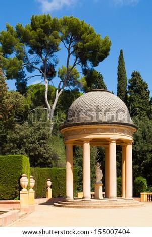 Danae Pavilion at Labyrinth Park of Horta in Barcelona. Catalonia - stock photo