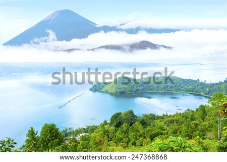 danau toba lake scenery and unactive volcano