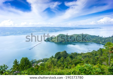 danau toba lake scenery from highland