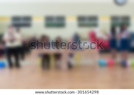 Dance class for women at fitness centre abstract blur background - stock photo
