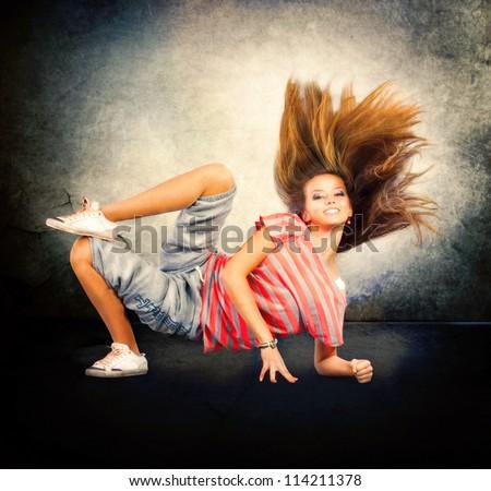 Dance. Hip-Hop Dancer. Dancing Teenage Girl. - stock photo