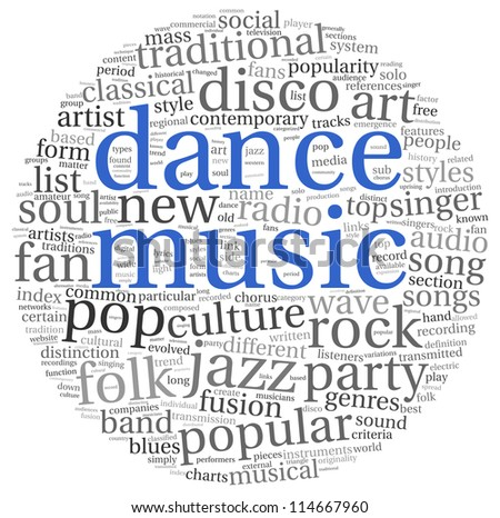 Dance music concept in word tag cloud on white - stock photo
