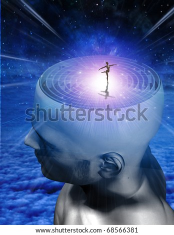 Dance of Mind  figure created with software and does not need a model release - stock photo