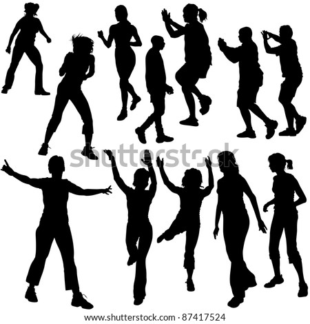 Dance Silhouettes - black illustrations and modern dance