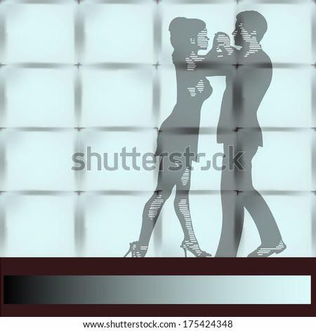 Dance Studio, a couple Ballroom Dancing seen through a large wall window - stock photo