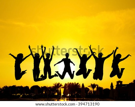 Dance the Night Away Friends Silhouettes  - stock photo