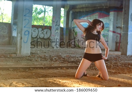 Dancer in the abandoned room - stock photo