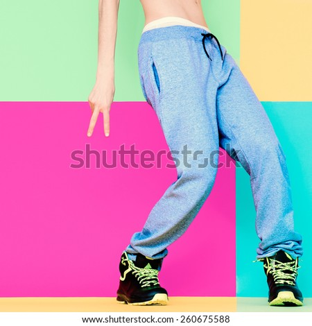 Dancer's feet on bright background. Dancing, Active, Sport, Fashion - stock photo
