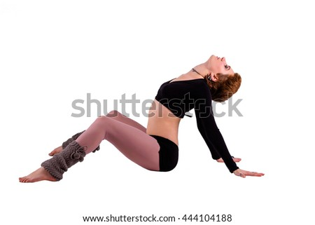 Dancer woman sitting in dance pose