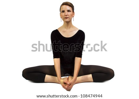 dancer yoga stretching and isolated on white background - stock photo
