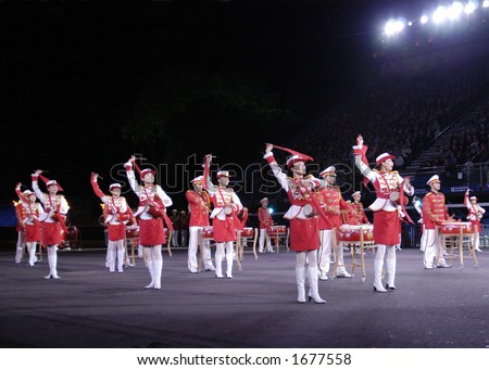 Dancers and Drummers of the Chinese People's Liberation Army - stock photo