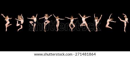 Dancers Elegance Girls Isolated Over Black - stock photo